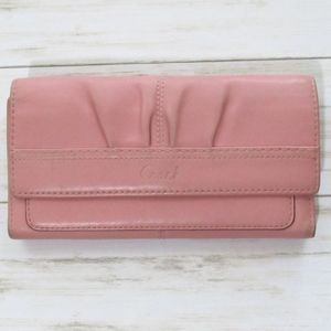 Coach Solid Pink Soho Pleated Trifold Wallet